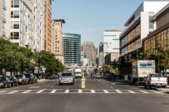 Boston MA USA 04.09.2017 skyline summer day panoramic view buildings downtown and road with traffic at waterfront side Royalty Free Stock Photography