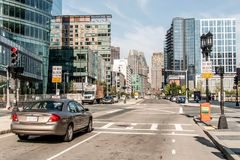 Boston MA USA 04.09.2017 skyline summer day panoramic view buildings downtown and road with traffic at waterfront side Royalty Free Stock Photo