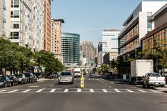 Boston MA USA skyline summer day panoramic view buildings downtown and road with traffic at waterfront side. Boston MA USA skyline in summer day, panoramic view stock photo