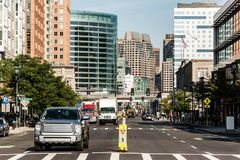 Boston MA USA skyline summer day panoramic view buildings downtown and road with traffic at waterfront side Stock Photo