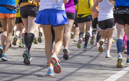 The Boston Marathon 2014. Amateur Runners heading to Boston downtown during the Boston Marathon 2014 Stock Photography