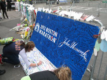 Boston Marathon Bombing Memorial at Boylston Street Royalty Free Stock Photo