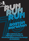 Boston marathon run font Royalty Free Stock Image