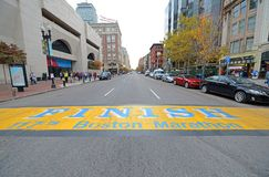 Boston-Marathon-Ziellinie, Boston, USA lizenzfreie stockfotografie