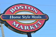 Boston Market Sign Up Close Stock Photos