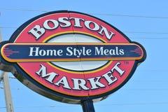 Boston Market Sign Up Close. Large coastal Boston market Sign up close Stock Photos