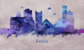Boston City in Massachusetts, Skyline vector illustration
