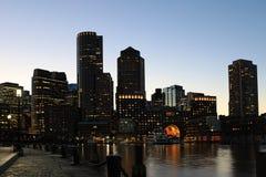 Boston, Massachusetts  city center at dusk Stock Photo
