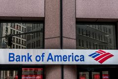 Boston Massachusetts de V.S. 06 09 2017 Bank van van het het embleem Amerikaans multinationaal bankwezen van Amerika financieel d Royalty-vrije Stock Foto's