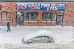BOSTON, MASSACHUSETTS - 3 GENNAIO 2014: Tempesta della neve a Boston Immagine Stock