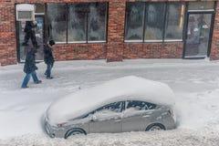 BOSTON, MASSACHUSETTS - 3 GENNAIO 2014: Tempesta della neve a Boston Immagini Stock Libere da Diritti