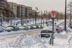 BOSTON, MASSACHUSETTS - 3 GENNAIO 2014: Tempesta della neve a Boston cityscape Fotografia Stock