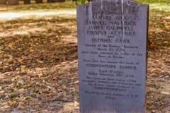 Boston Massachusetts Granary Burial Ground. Boston, Massachusetts, USA - September 12, 2016:  A headstone for the five victims of the Boston Massacre, March 1770 Stock Photography