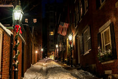 BOSTON, MASSACHUSETTS - JANUARY 03, 2014: Beacon Hill Street in Boston. Long Exposure Night Photography. Acorn Street, Boston Stock Images