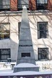 BOSTON, MASSACHUSETTS - JANUARY 04, 2014: Granary Burial Ground. Franklin Monument. Granary Burial Ground. Franklin Monument Royalty Free Stock Photography