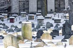 BOSTON, MASSACHUSETTS - JANUARY 04, 2014: Granary Burial Ground. Granary Burial Ground. Snowy Winter Stock Photography
