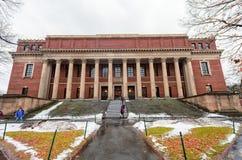 BOSTON, MASSACHUSETTS - JANUARY 06, 2014: Harvard Yard in Boston. The Harry Elkins Widener Memorial Library. Harvard Yard in Boston. The Harry Elkins Widener Stock Photos
