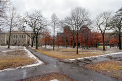 BOSTON, MASSACHUSETTS - JANUARY 06, 2014: Harvard Yard in Boston. Harvard University Area Stock Photo