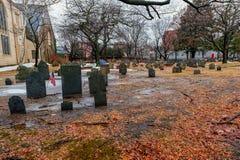 BOSTON, MASSACHUSETTS - JANUARY 06, 2014: Harvard Yard in Boston. Old Burial Ground. Harvard Yard in Boston. Old Burial Ground Royalty Free Stock Image