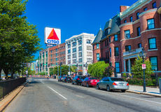 Boston, Massachusetts - June 2016, USA: Boston marathon, view of Kenmore Square and big Citgo logo on rooftop of building Royalty Free Stock Photo