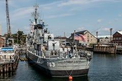 Boston Massachusetts los E.E.U.U. 06 09 2017- Hito histórico joven del nacional del destructor de la clase de USS Cassin Fletcher Fotos de archivo