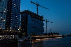 Boston Massachusetts, los E.E.U.U. 06 09 Rascacielos 2017 de la ciudad, aduanas y costa de Boston en la exposición larga de la no Imagen de archivo