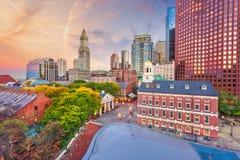 Boston, Massachusetts, mercados de los E.E.U.U. y paisaje urbano céntricos imagen de archivo libre de regalías
