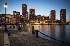 Boston in Massachusetts at night Stock Image