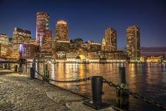 Boston in Massachusetts at night Stock Photo