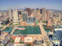 Boston, Massachusetts Skyline from above by Drone during Summer stock photos