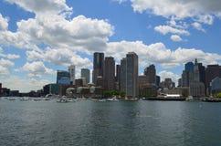 Boston Massachusetts Skyline from the Harbor. A view of Boston harbor and the City of Boston stock photography