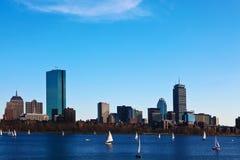 Boston, Massachusetts skyline with sailboats in foreground. The Boston, Massachusetts skyline with sailboats in foreground stock photos