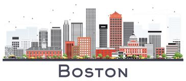 Boston Massachusetts Skyline With Gray And Red Buildings Isolate Stock Photo