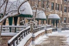 BOSTON MASSACHUSETTS, STYCZEŃ, - 03, 2014: Pejzaż miejski Boston Śnieżna zima Zdjęcie Stock