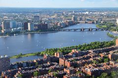 Boston. Massachusetts in the United States. City aerial view with Charles River royalty free stock images