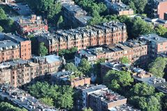 Boston, Massachusetts. In the United States. Old apartment buildings aerial view in Roxbury district Stock Photography