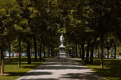 Boston,Massachusetts, US, 27 Jul. 2009: Hamilton statue was erected in 1865 and was the first to appear on Commonwealth. Avenue. The statue was funded by Thomas Royalty Free Stock Photography