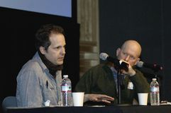 James Mottern 2. Boston, Massachusetts US - March 2013 - James Mottern screenwriter and filmmaker (left) responding to interview question at the MA Media Expo Royalty Free Stock Photos