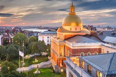 Boston, Massachusetts, USA cityscape with the State House. At dusk royalty free stock photography