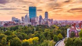 Boston, Massachusetts, USA Skyline. Boston, Massachusetts, USA downtown skyline over the park at dusk royalty free stock photography