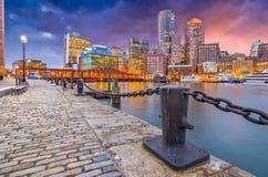 Boston, Massachusetts, USA Harbor and Skyline Royalty Free Stock Photography