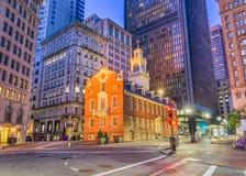 Boston, Massachusetts, USA Old State House. And cityscape stock image