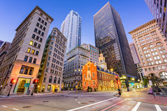 Boston, Massachusetts, USA. Old State House and cityscape Royalty Free Stock Images