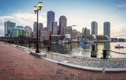 Boston in Massachusetts, USA. Panoramic view of the architecture of Boston in Massachusetts, USA at Back Bay Royalty Free Stock Images