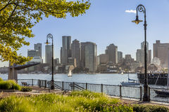 Boston in Massachusetts, USA. Panoramic view of Boston in Massachusetts, USA seen from the gardens of Piers Park in Chelsea Royalty Free Stock Photo