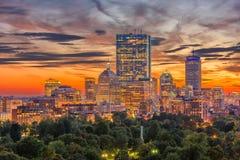 Boston, Massachusetts, USA Park Skyline. Boston, Massachusetts, USA downtown skyline over the park stock image