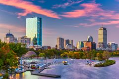 Boston, Massachusetts, USA River Skyline. Boston, Massachusetts, USA downtown skyline on the Charles River in the morning stock image