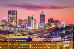 Boston, Massachusetts, USA Dusk Skyline. Boston, Massachusetts, USA skyline with bridges and highways at dusk stock image