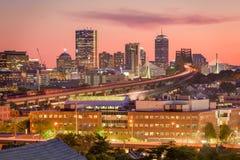 Boston Massachusetts, USA. Boston, Massachusetts, USA Skyline at dusk stock photo