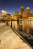 Boston, Massachusetts, USA skyline from Fan Pier at night royalty free stock photos